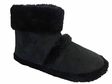 MENS COOLERS SLIPPERS WITH FUR CUFF (Small 7-8 UK, Black)