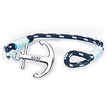 Pulsera Ancla Acero Inoxidable Esperanza Amor Hombre Mujer Pulseras Marinero Náutico Azul Cuerda Cable Brazalete de forro Trenzado