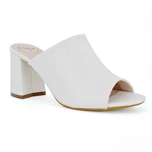 ESSEX GLAM Donna Tacco a Blocco Fibbia Scivolare su Peep Toe Pelle Sintetica Sandalo Bianco Pelle Sintetica