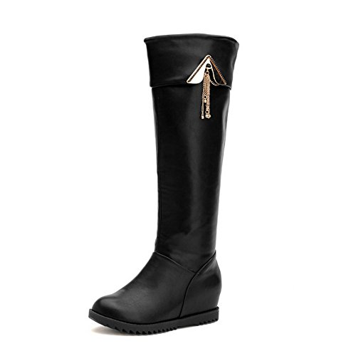 AgooLar Damen Hoch-Spitze Eingelegt Ziehen Auf Mittler Absatz Stiefel mit Metallisch Schwarz