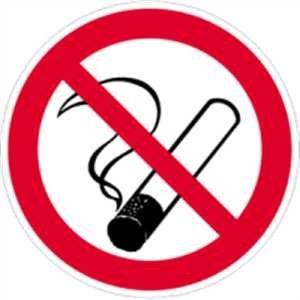 Preisvergleich Produktbild Aufkleber Rauchen verboten 10cm Ø Folie gemäß ASR A 1.3/BGV A8/DIN 4844