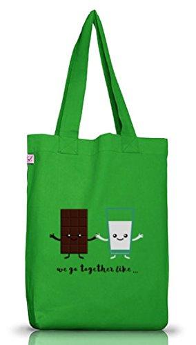 Valentinstag Jutebeutel Stoffbeutel Earth Positive mit Chocolate + Milk Motiv von ShirtStreet Kelly Green