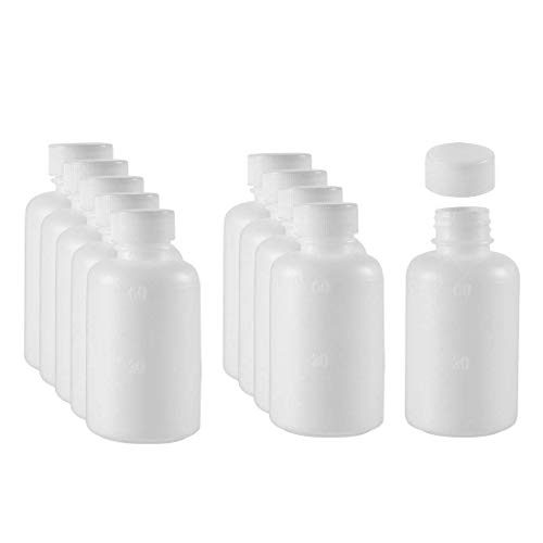 ZCHXD Plastic Lab Chemical Reagent Bottle 60ml/2oz Small Mouth Sample Sealing Liquid Storage Container 10pcs (2 Oz Liquid Container)