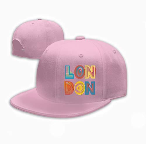 Xunulyn Neutral Cotton Denim Adjustable Hat Men Women Graphics London City Typography Sport Emblem Design Pink