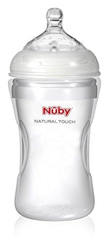 Nuby NT67018 - Natural Touch Weithalsflasche aus Silikon 300 ml, mit Soft-Flex Flaschensauger aus Silikon, ab 3 Monate, Grösse M für mittleren Trinkfluss