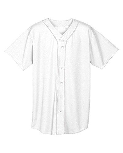 A4Jungen nb4184Short Sleeve Full Button Baseball Jersey, Jungen Herren, NB4184, weiß, Large