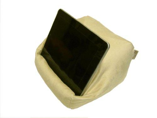 Preisvergleich Produktbild LESEfit soft antirutsch Hygge Lesekissen, Tablet Kissen Halter, Sitzsack für iPad * Buch & eReader (multifunktionale Quader-Form) für Bett & Sofa - Wildleder-Imitat creme beige