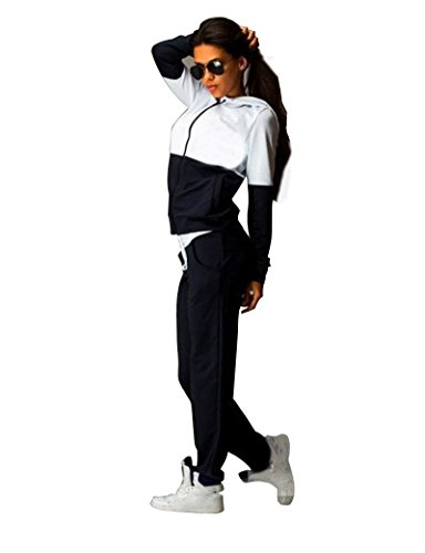 Hoodie Sweatshirt Hose (Baymate Damen Casual Sportanzug mit Kapuze Hoodie Sweatshirt und Hose Tracksuit 2pcs Schwarz S)
