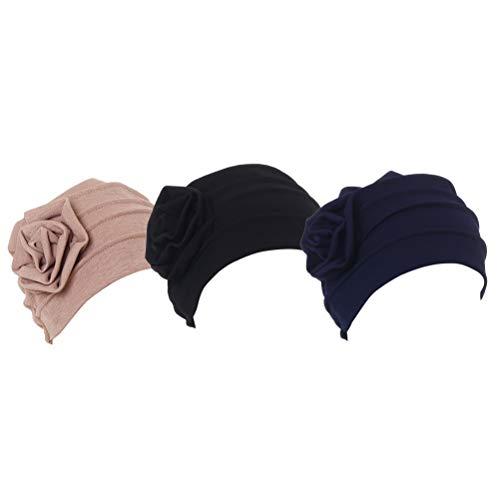 Besbomig chemo copricapo alopecia notte cap - morbido e caldo cotone beanie addormentato cappelli musulmano fiore turbante cappello