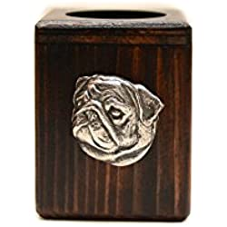 Candelabro de madera con carlino de edición limitada, ArtDog