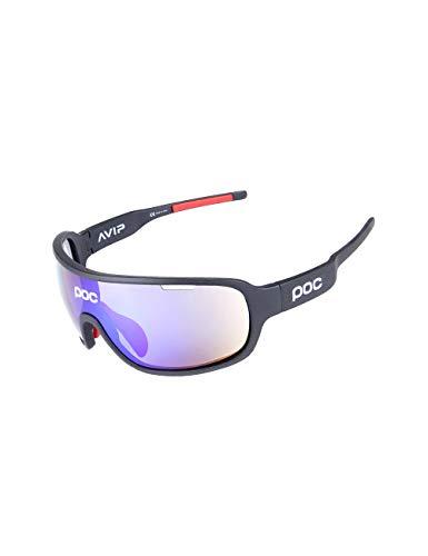 CUKKE Unisex Fahrradbrille, Polarisierte Sport Sonnenbrille für Herren Damen, Sportbrille mit 5 Austauschbaren Linsen zum Radfahren, Klettern, Sports, Fahren (Schwarz)