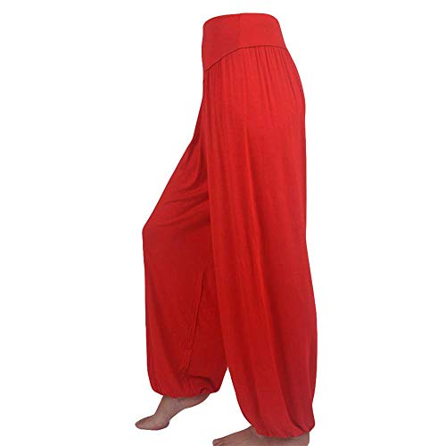 WOZOW Yoga Hosen Damen Haremshose Pumphose Solid Einfarbig Aladdin Indian Thiland Lang Long Bloomers Soft Loose Lose High Waist Casual Bequem Baggy Trousers Stoffhose Freizeithose (M,Rot) (Für Jungen Halloween-make-up Army)