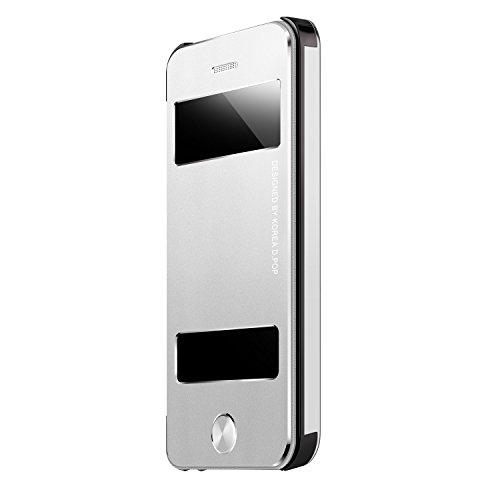 Oats® Premium Hülle für Apple iPhone SE Schutzhülle in stylischem Aluminium Schutzhülle mit Sichtfenster Anrufe schnell Annehmen Hard Cover Flip Back Case Tasche Bumper - von OKCS® in Silber