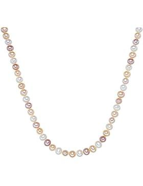 Valero Pearls Classic Collection Damen-Kette Hochwertige Süßwasser-Zuchtperlen in ca.  7 mm Oval weiß / apricot...