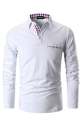 YCUEUST Homme Coton Lattice Collier Polo Casual Tennis Golf...