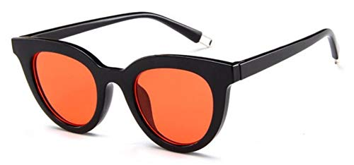 WSKPE Sonnenbrille Frauen Cat Eye Sexy Sonnenbrille Gradient Objektiv Sonnenbrille Uv400 Schwarzen Rahmen Orange Linse -