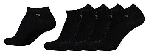 Sneaker Socken Tom Tailor schwarz 47-49 4er Pack - Unisex Füßlinge Herren & Damen Größe 47/49 im Mehrpack - Sportsocken Set für Männer und Frauen - Baumwoll Strümpfe für Sport und Freizeit - 4 Paar