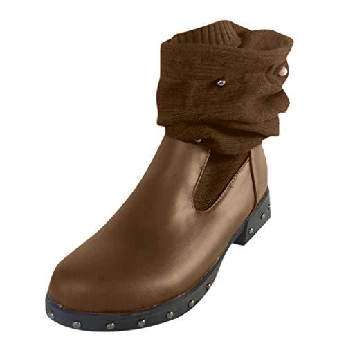 Xuthuly Frauen Arbeiten süße warme Knit-Socken-Patchwork-Perlen-Lange Aufladungs-Damen beiläufige Normallack-runde Zehe-Beleg-auf ledernen Schuhen