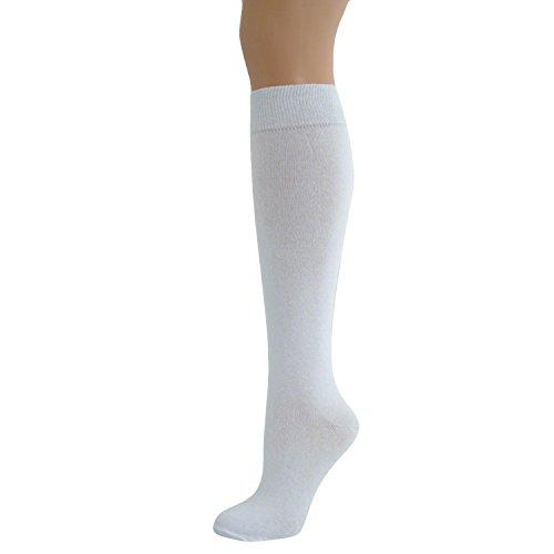 Ladies Knee High Plain Socks White (Knee High Socken Stripe)