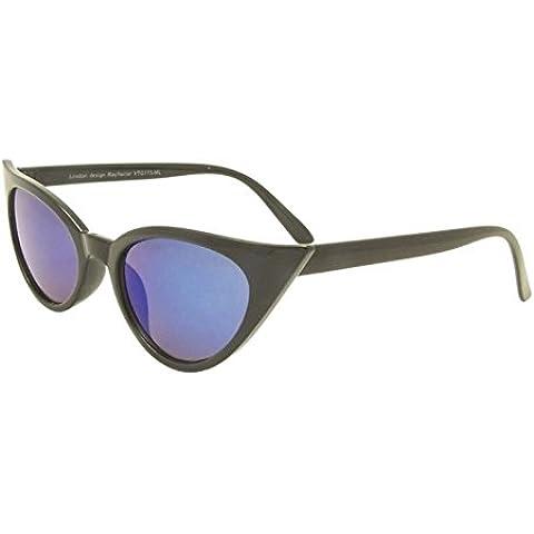 Nero Lenti Blu Rockabilly 50Donna Occhio di gatto occhiali da sole stile retrò con Sharp lenti Revo