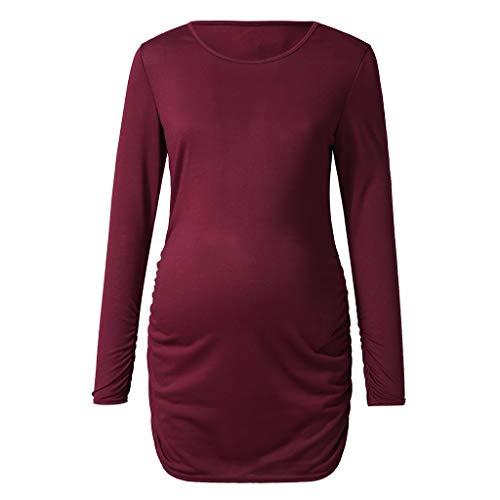 Manadlian Robe De Maternité Femme Robe Sweat-Shirt Allaitement Maternité Couleur Unie Jupe de Maternité Manche Longue