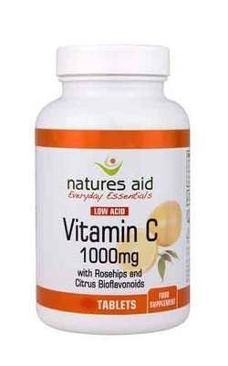 Natures Aid Low Acid Vitamin C 1000mg with Rosehips & Bioflavonoids 240 Tablets Test