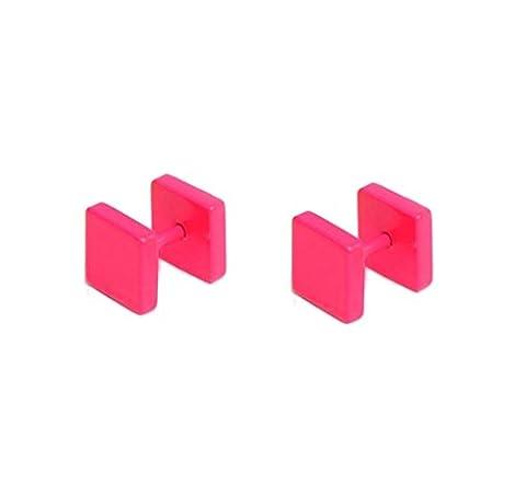 Cameleon-Shop - Boucles d'Oreille Faux Ecarteur Plug - Acier Inoxydable - Carré Rose - 8 mm