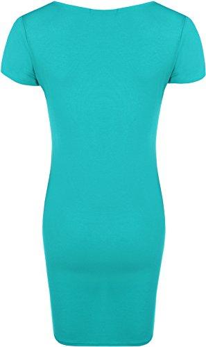 WearAll - Mini-robe serrée à manches courtes en style du t-shirt - Robes - Femmes - Grandes tailles 44 à 48 Turquoise