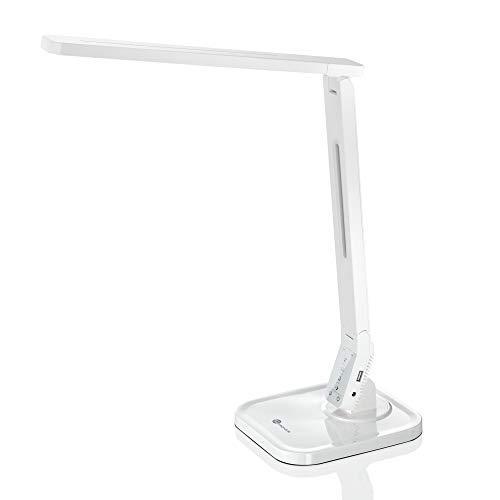 funktions schreibtisch Schreibtischlampe LED TaoTronics Dimmbare Lampe mit 4 Farbmodi 5 Helligkeitsstufen (5V/1A USB-Ladeanschluss, 140 Grad Drehbarer Arm, 1-Stündiger Auto-Off Timer, Touchsteuerung, Memory-Funktion)