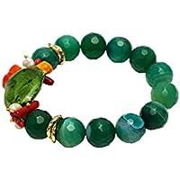 Braccialetto in Agata verde (16mm Ø) con Cactus in Ceramica di Caltagirone, Perline Mallorca e Corallo (5mm Ø) | Etnico Elegante Estivo