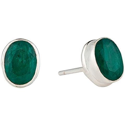 Silverly Pendientes Mujeres De Plata De Ley .925 Con Piedra Preciosa Esmeralda Cortó Oval 7X5 Mm