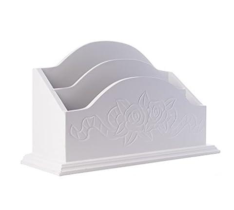 elbmöbel 31x18x11cm Briefhalter weiß antik aus Holz Newsholder im Rosen-Design für die Postablage im shabby-chic