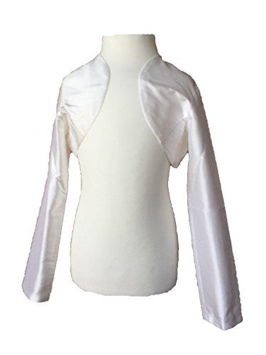 100% Seide Blazer (Edel Kommunion Bolero Jacke aus Seide seiden-weiß NEU (134 (9A)))