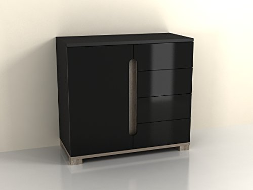 Lorenz Sideboard High Gloss Black 1 Door / 4 Drawer (P980LS45) by furniturefactor