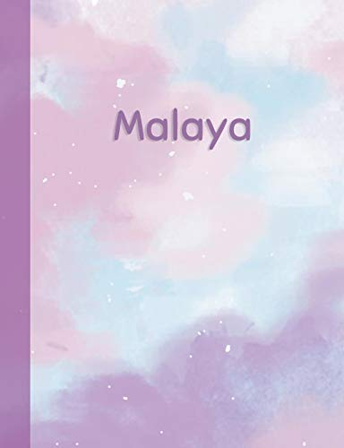 Malaya: Personalized Composition Notebook - College Ruled (Lined) Exercise Book for School Notes, Assignments, Homework, Essay Writing. Purple Pink Blue Cover Art - Cloud Marble with Name Malaya Cover