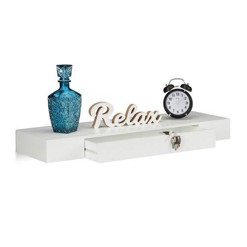 Relaxdays Wandregal mit Schublade, hängend, Design, 25cm tief, Wohnzimmer, Wandschublade, Wandboard, weiß - Hängende Schublade