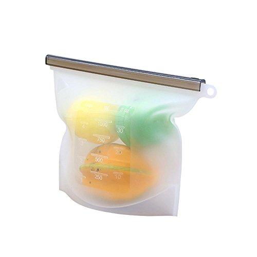 AOLVO - Bolsa de Silicona Reutilizable para conservar Alimentos (1000 ML, microondas, con Escala, para Frutas, Verduras, Carne, Leche y más)