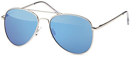 Sonnenbrille, Pilotenbrille blau verspiegelt mit flexiblen Federbügeln + Brillenbeutel