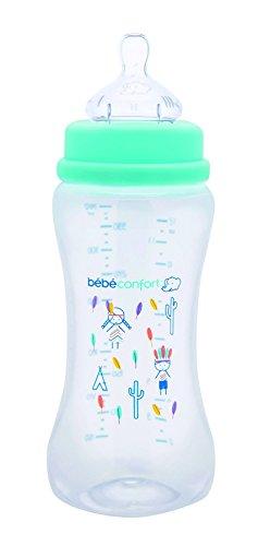Bébé Confort Biberon in Polipropilene a Collo Largo, Tettarella in Silicone, Flusso Medio-Veloce, 360 ml, Blu