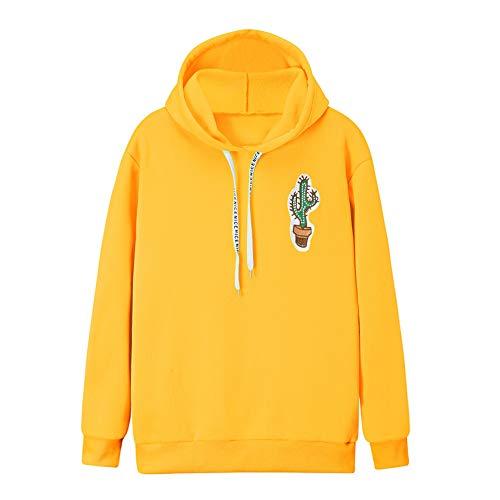 Damen Kapuzenpullover MYMYG Frauen Langarm Kaktus Print Hoodie Sweatshirt mit Kapuze Pullover Tops Bluse(Gelb,EU:40/CN-XL)