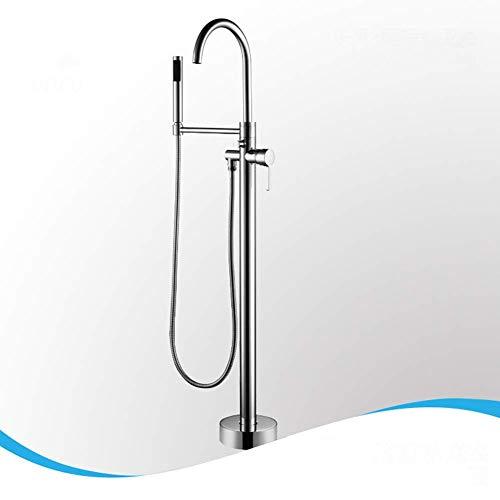 Nouveau Hängen (Brass Freestanding Bathtub Faucet Floor Mounted Bath Tub Filler Faucets with Hand Held Shower Head Chrome)