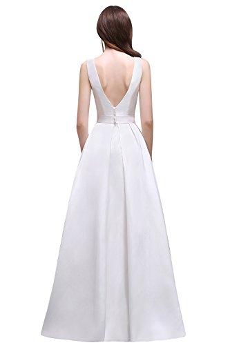 Robe Femme de Soirée/Cérémonie/Mariée Blanche Longue Swing Simple Sans Manche Dos Nu en V par MisShow Blanc