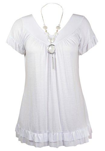 Damen Kurzer Rüschen Ärmel Damen V-ausschnitt Stretch T-Shirt Perlenkette Top Plus Größe Weiß
