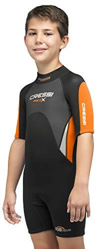 Cressi Jugend Med X Junior Kinder Neoprenanzug 2.5mm Unisex, Schwarz/Orange, XS (6/7 Jahre)