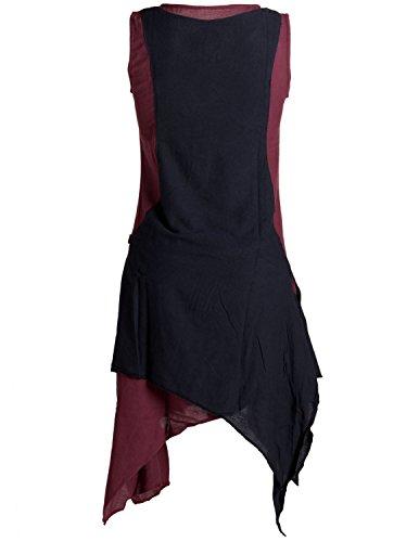 Vishes - Alternative Bekleidung – Ärmelloses Zipfeliges Lagenlook Kleid / Tunika aus handgewebter Baumwolle dunkelrot-schwarz