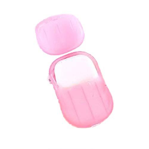 Rosa Schäumende Seife (Delleu Tragbare Outdoor-Entsorgung Seifen Papier Reise duftende Seife Slice Blech schäumende Seifen Papier)