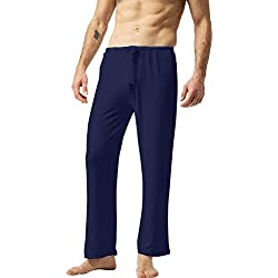 ZSHOW Pantalones de Yoga para Hombre de Algodón Pantalones Largo de Pijama Blau Small
