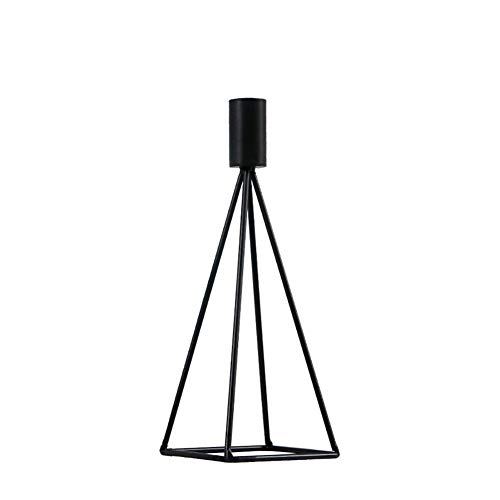 Chandeliers Bougeoir Bougeoir conique noir, chandelier minimaliste moderne pour la longue bougie, support de chandelle de fer de table à manger à la maison (taille : L(9×9×24cm))