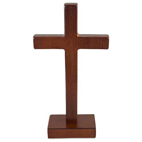 kruzifix24 Devotionalien Stehkreuz Standkreuz Erlenholz braun ohne Körper 21 x 11 cm Altarkreuz für Zuhause Pflegeheim Unterwegs - Sterbekreuz für Hospitz
