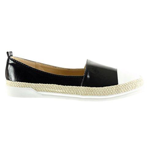 Angkorly Damen Schuhe Espadrilles Mokassin - Slip-on - Sneaker Sohle - Seil - Glänzende Flache Ferse 3 cm Schwarz
